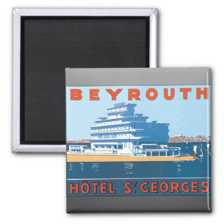 Beyrouth Hotel St. Georges, Vintage 2 Inch Square Magnet