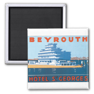 Beyrouth St. Georges Vintage Travel Poster 2 Inch Square Magnet