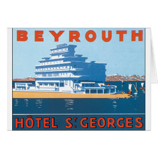 Beyrouth St. Georges Vintage Travel Poster Card