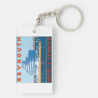 Beyrouth St. Georges Vintage Travel Poster Keychain