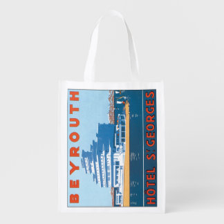 Beyrouth St. Georges Vintage Travel Poster Reusable Grocery Bag