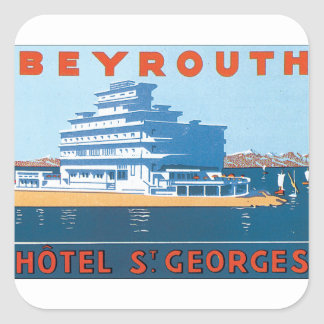 Beyrouth St. Georges Vintage Travel Poster Square Sticker