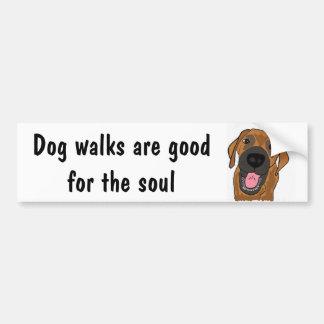 BF- Dog walks are good for the soul bumper sticker Car Bumper Sticker