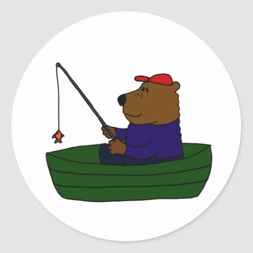 BF- Funny Bear Fishing Design Sticker