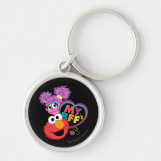 BFF Abby and Elmo Silver-Colored Round Keychain