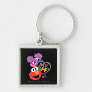 BFF Abby and Elmo Silver-Colored Square Keychain