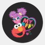 BFF Abby y Elmo Pegatina Redonda