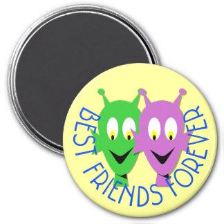 BFF aliens 3 Inch Round Magnet