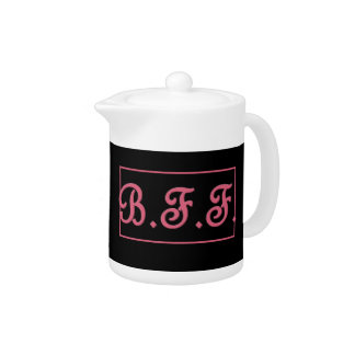 BFF Best Friend 3D Style Pink Lettering Gift Item Teapot