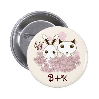 BFF - Best Friends Forever Cute Animal Kids Ivory Button