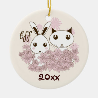 BFF - Best Friends Forever Cute Animal Kids Ivory Ceramic Ornament