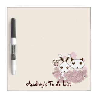 BFF - Best Friends Forever Cute Animal Kids Ivory Dry Erase Board