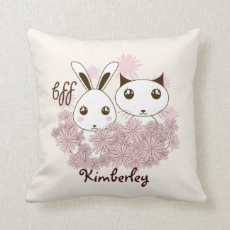 BFF - Best Friends Forever Cute Animal Kids Ivory Throw Pillow