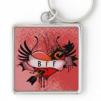 BFF Best Friends Forever Grunge Heart Keychain keychain