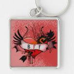 BFF Best Friends Forever Grunge Heart Keychain