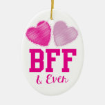 BFF Best Friends Forever Double-Sided Oval Ceramic Christmas Ornament