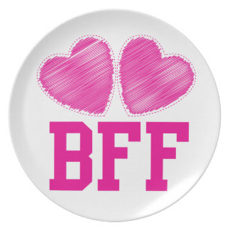 BFF Best Friends forever with love hearts Dinner Plate