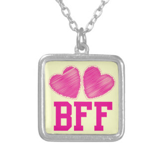 BFF Best Friends forever with love hearts Square Pendant Necklace