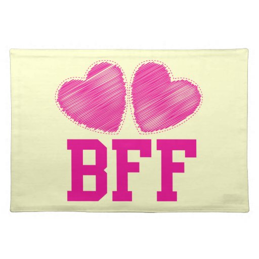 BFF Best Friends forever with love hearts Placemat