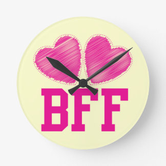 BFF Best Friends forever with love hearts Round Clock