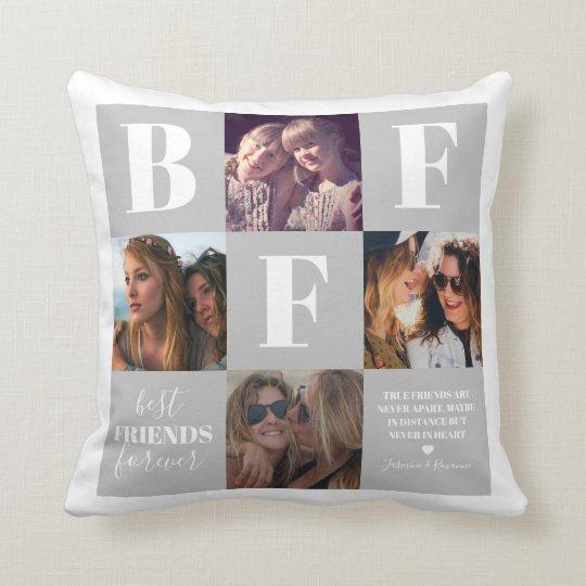 BFF Bestie Photo Collage Grey Throw Pillow