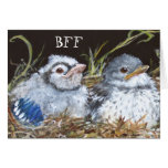 BFF card with baby bluejay and baby mockingbird