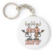 BFF cow best friends forever buddies Keychain