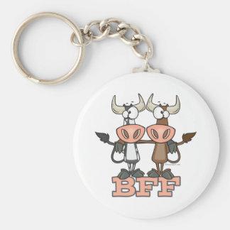 BFF cow best friends forever buddies Basic Round Button Keychain