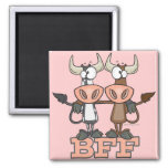 BFF cow best friends forever buddies 2 Inch Square Magnet