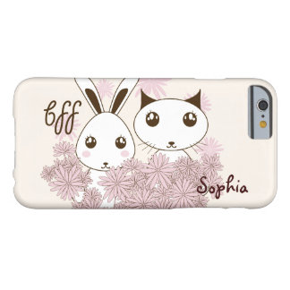 BFF - Cute Bunny and Kitten Design Personalized Barely There iPhone 6 Case