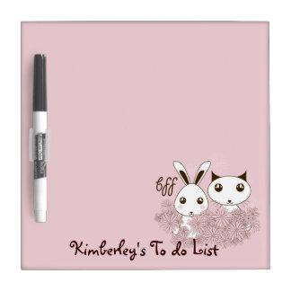 BFF - De los mejores amigos rosa animal lindo para Pizarras Blancas