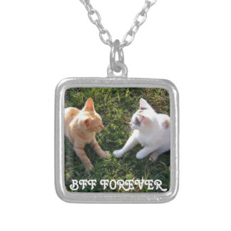 BFF Forever - best friends forever cute cats Square Pendant Necklace