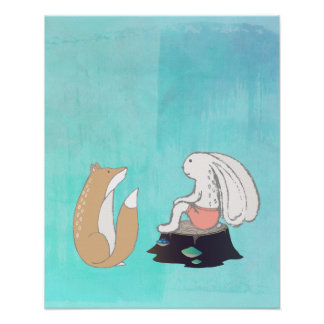 BFF Fox and Rabbit Cartoon Sketch Poster