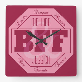 BFF Friendship - custom names - wall clock
