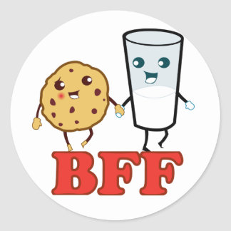 BFF, galleta y leche Pegatina Redonda
