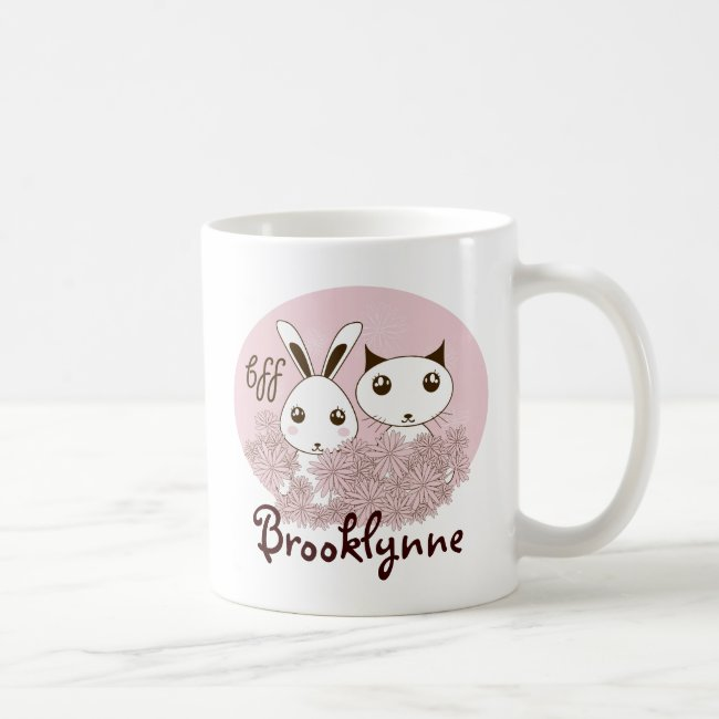 BFF - Girl Friendship Cute Animal Pink Kids Name