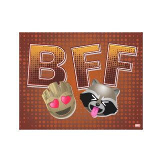 BFF Groot & Rocket Emoji Canvas Print