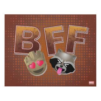 BFF Groot & Rocket Emoji Panel Wall Art