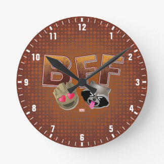 BFF Groot & Rocket Emoji Round Clock