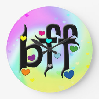 bff ~ hearts large clock