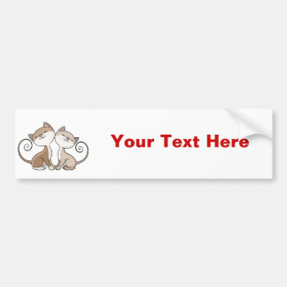 BFF Kitties with Curling Tails Bumper Sticker