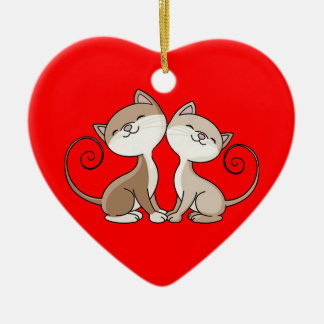 BFF Kitties with Curling Tails Ceramic Ornament
