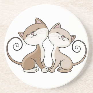 BFF Kitties with Curling Tails Drink Coaster
