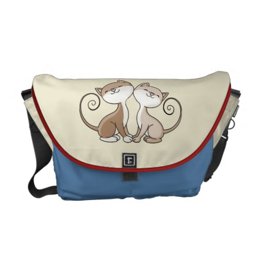 BFF Kitties with Curling Tails Messenger Bags