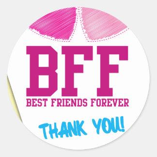 ¡BFF LE AGRADECEN! ¡Mejores amigos para siempre! Pegatina Redonda