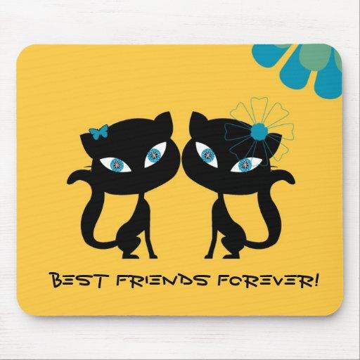 (BFF)¡Los mejores amigos para siempre, amo gatos! Tapete De Raton