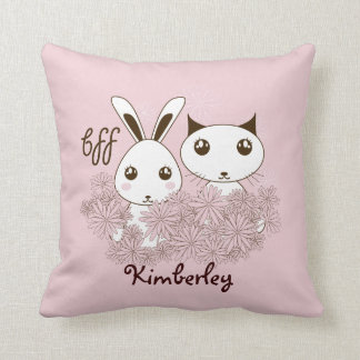 BFF - Original Girl Friendship Cute Animals Pink Throw Pillow
