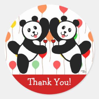 BFF Panda Friends Thank You Classic Round Sticker