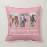 "BFF Photo Collage Best Friend Besties Blush Pink Throw Pillow<br><div class=""desc"">Modern BFF Photo Collage Best Friend Besties Quote Throw Pillow in Dusty Blush Pink Best friends are the sisters that life gives us! A tribute to the bond only best friends understand, this print features 3 of your favorite photos of you and your BFF. You can easily customize the photo,...</div>"