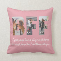 BFF Photo Collage Best Friend Besties Blush Pink Throw Pillow